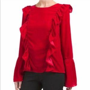 Amaryllis Red Velvet Ruffle Holiday Blouse—M